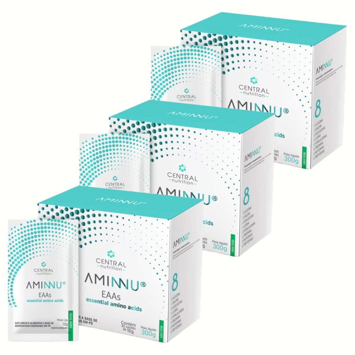Kit 3 Aminnu Limão 10G 30 Sachês EAAs - A Base De Aminoácidos Essenciais - Central Nutrition
