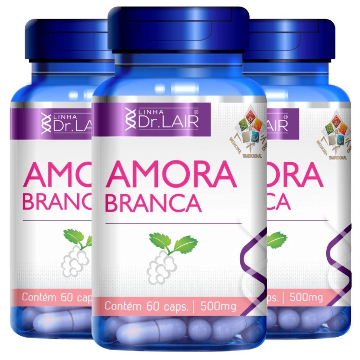 Kit 3 Amora Branca Vitaminas e Minerais 60 Cápsulas 500mg Dr. Lair - Upnutri