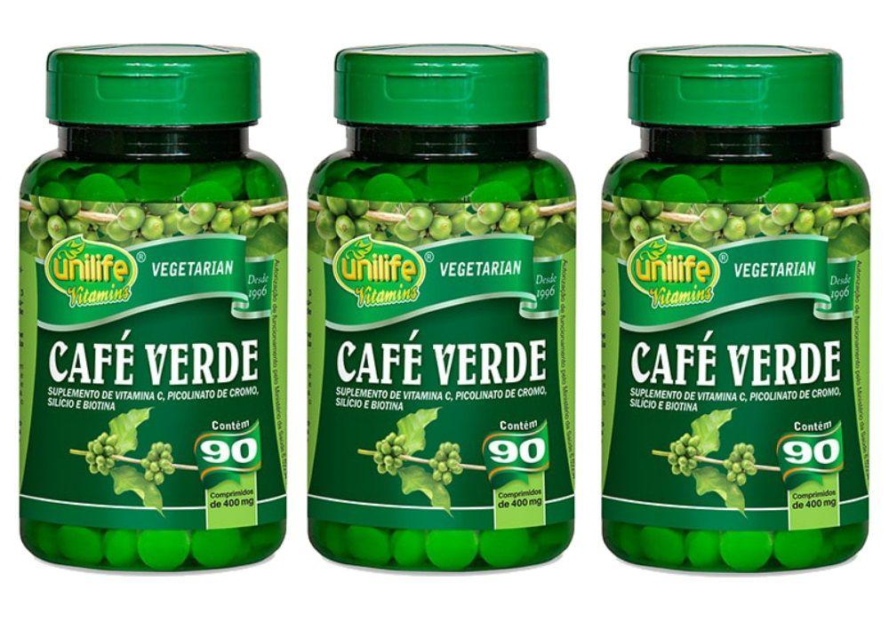 Kit 3 Café Verde Unilife com Vitaminas e Minerais - 90 Comprimidos 400mg