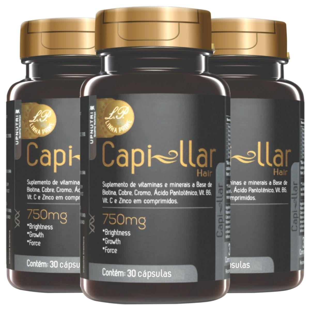 Kit 3 Capillar Hair Prime 30 Cápsulas 500mg Upnutri - Crescimento Capilar