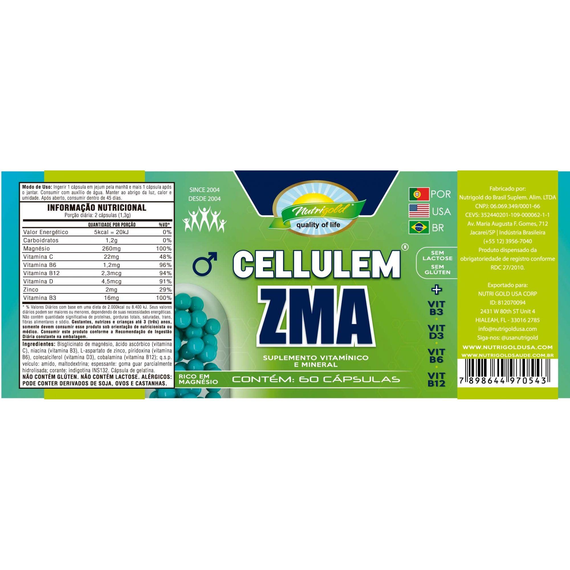 Kit 3 Cellulem ZMA Masculino (Azul) - Pote Com 60 Cápsulas 650mg