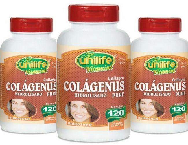 Kit 3 Colageno Hidrolisado Puro 120 Cápsulas Unilife