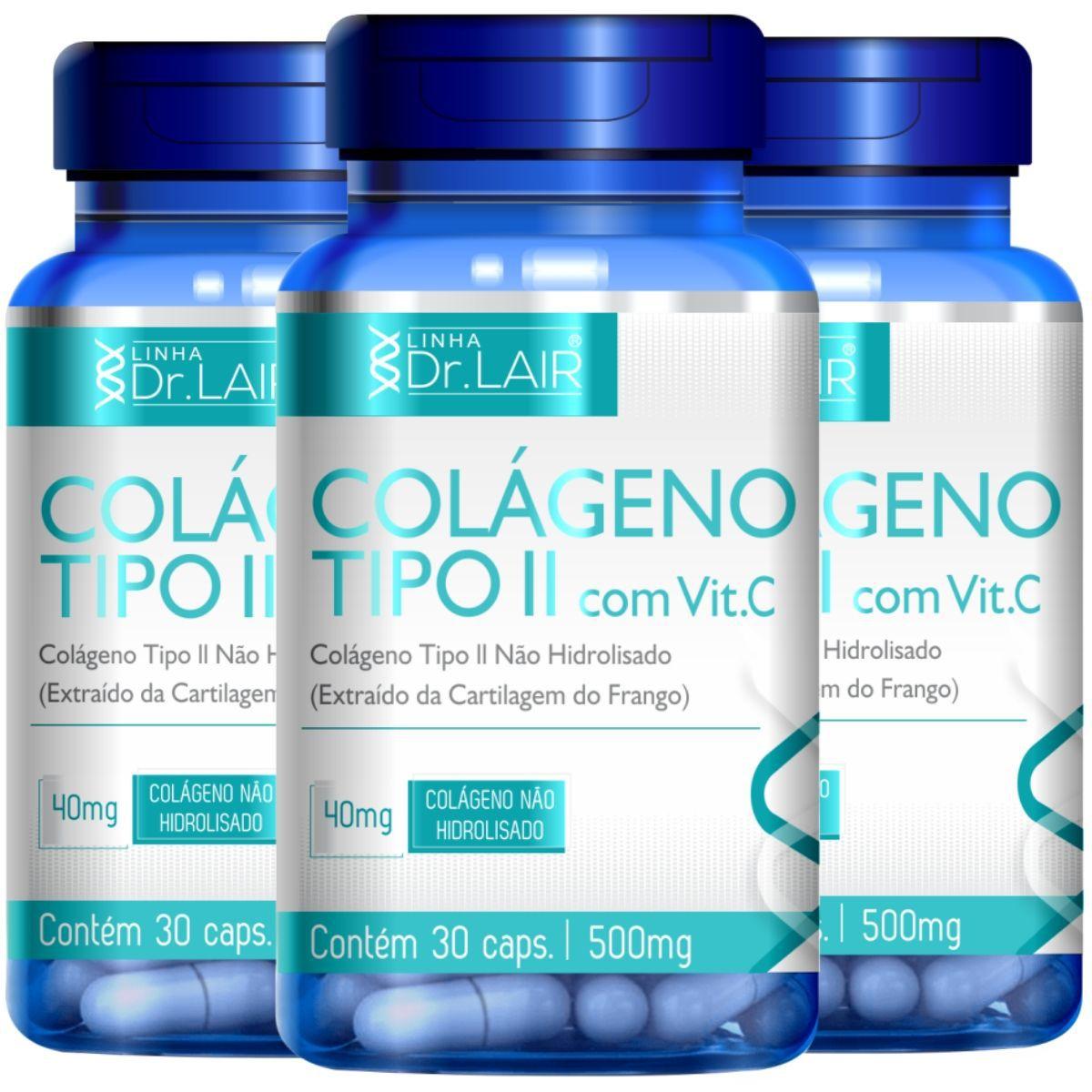 Kit 3 Colageno Tipo 2 C/ Vitamina C 30 Cápsulas 500mg Dr. Lair - Upnutri