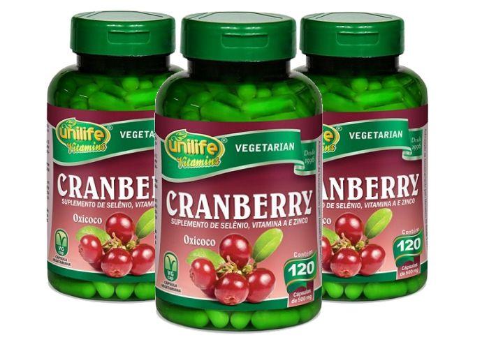 Kit 3 Cranberry Antioxidante Unilife - 500mg 120 Cápsulas