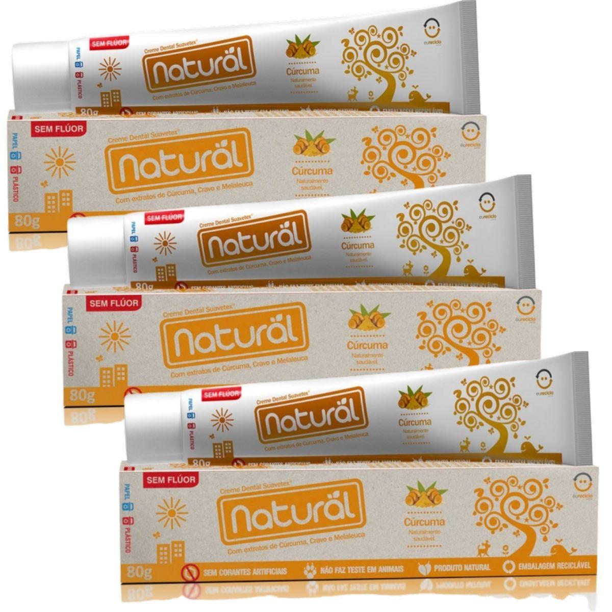 Kit 3 Creme Dental Suavetex Natural C/ Extratos de Curcuma, Cravo e Melaleuca 80g