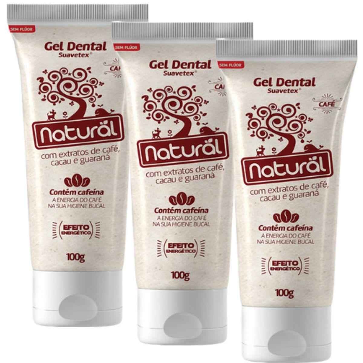 Kit 3 Creme Dental Suavetex Orgânico Natural C/ Extratos de Café, Cacau e Guaraná - 100g