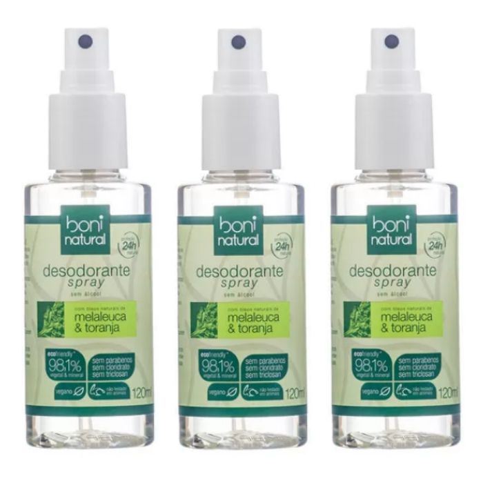 Kit 3 Desodorante Spray Boni Natural Melaleuca e Toranja 120ml