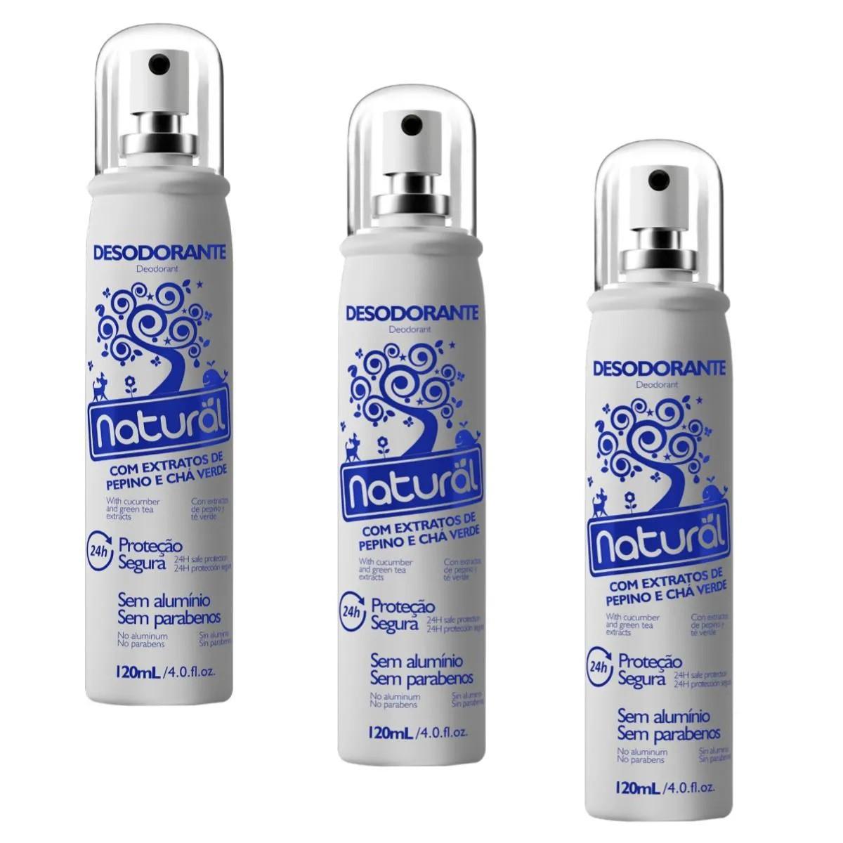 Kit 3 Desodorante Spray Suavetex Orgânico Natural Pepino e Chá Verde 120ml