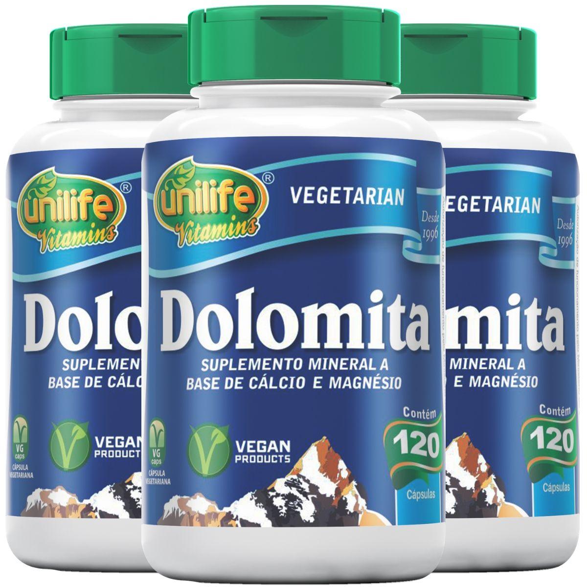 Kit 3 Dolomita - Cálcio e Magnésio Unilife 120 Cáps 950mg