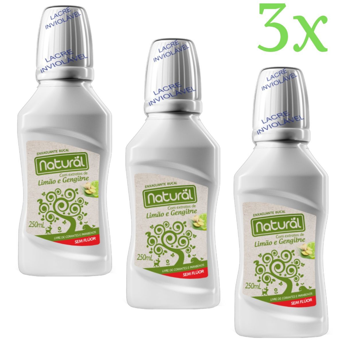Kit 3 Enxaguante Bucal Suavetex Natural C/ Extratos de Limão e Gengibre - 250ml
