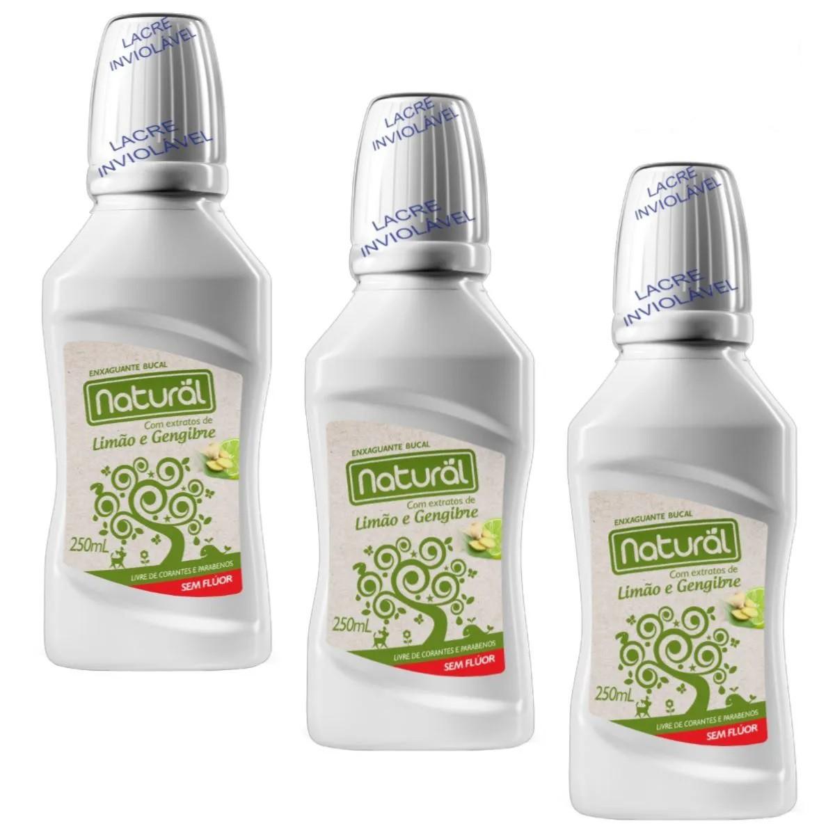 Kit 3 Enxaguante Bucal Suavetex Natural C/ Extratos de Limão e Gengibre - 250ml