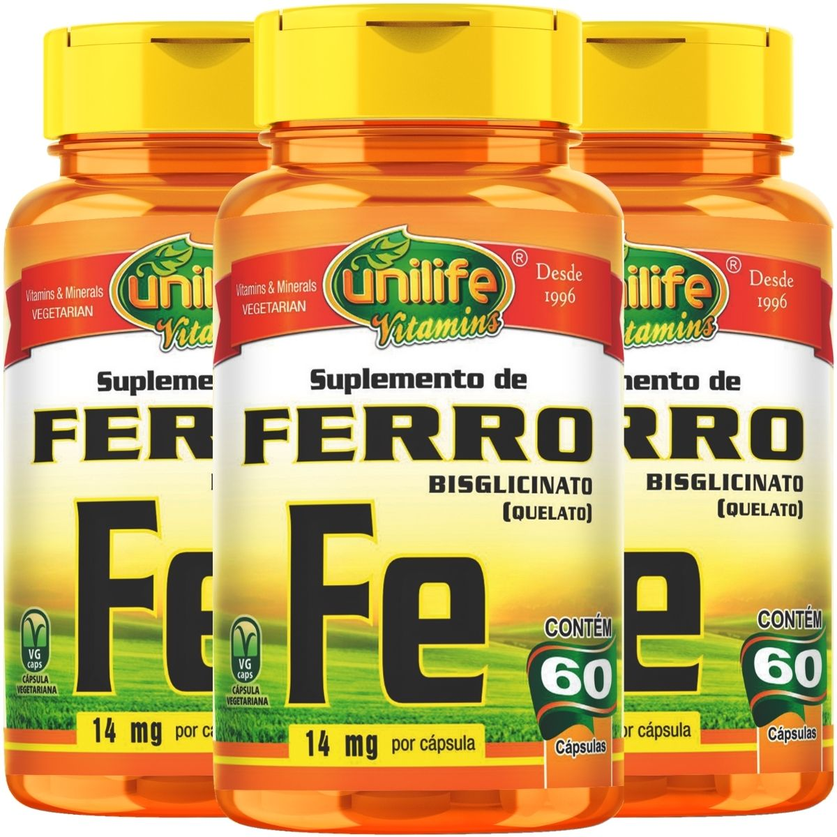 Kit 3 Ferro Quelato Fe 500mg 60 Cáps - Unilife