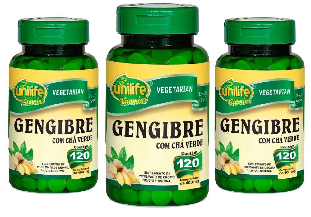 Kit 3 Gengibre C/ Chá Verde Unilife - 400mg 120 Comprimidos