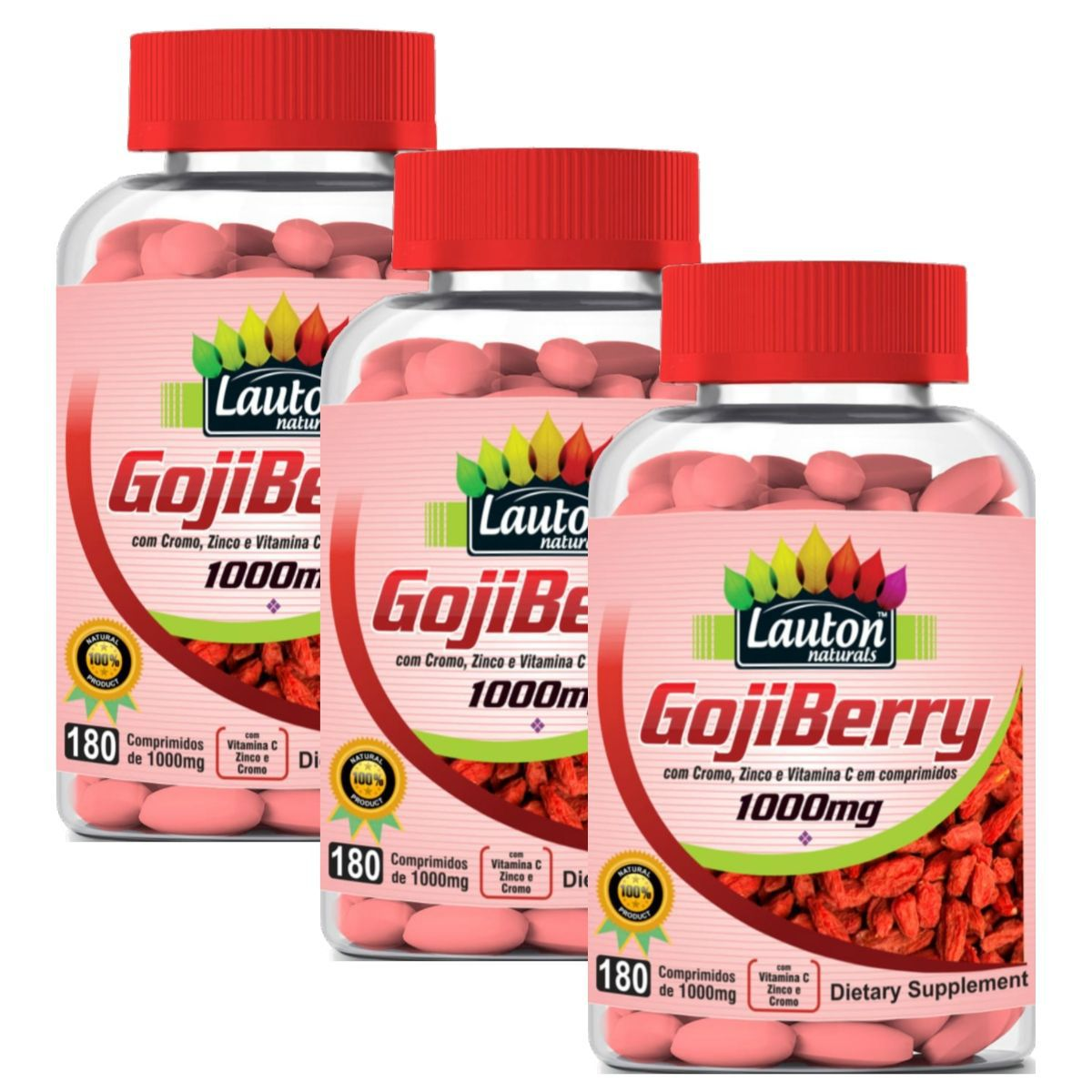 Kit 3 Goji Berry Lauton Nutrition 180 Comprimidos 1000mg