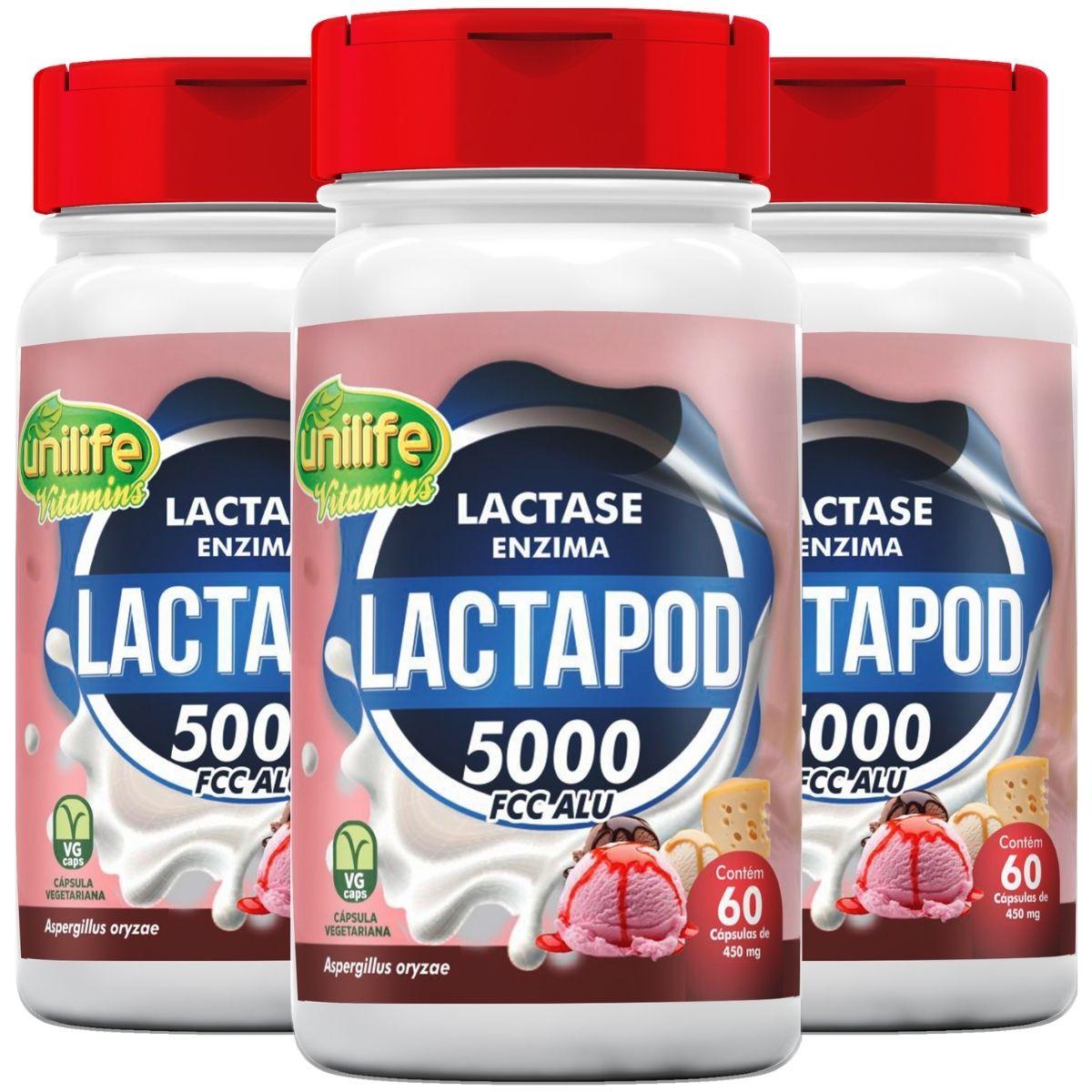 Kit 3 Lactase Lactapod Enzima 60 cápsulas 450mg - Unilife