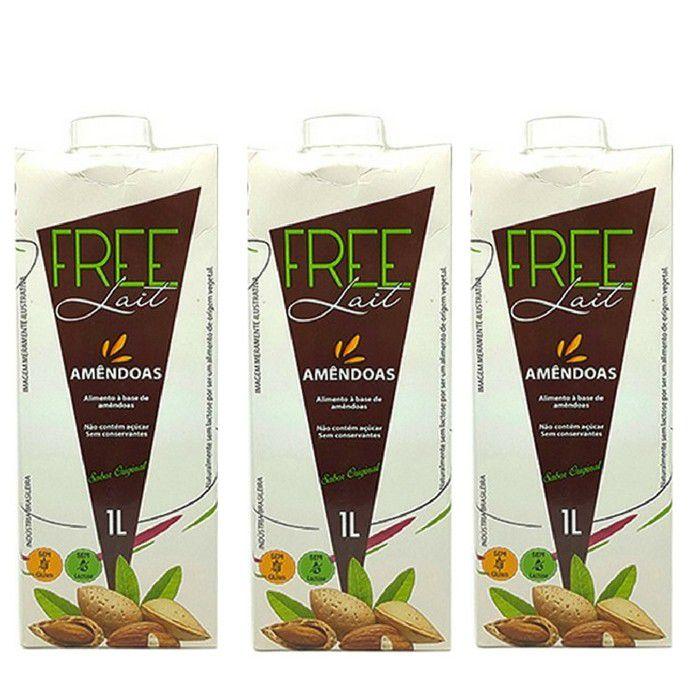 Kit 3 Leites de Amêndoas 1L Sem Lactose - Free Lait
