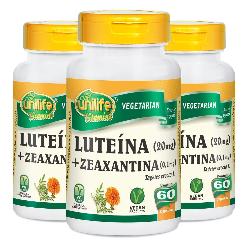 Kit 3 Luteína e Zeaxantina - Unilife 60 Cáps