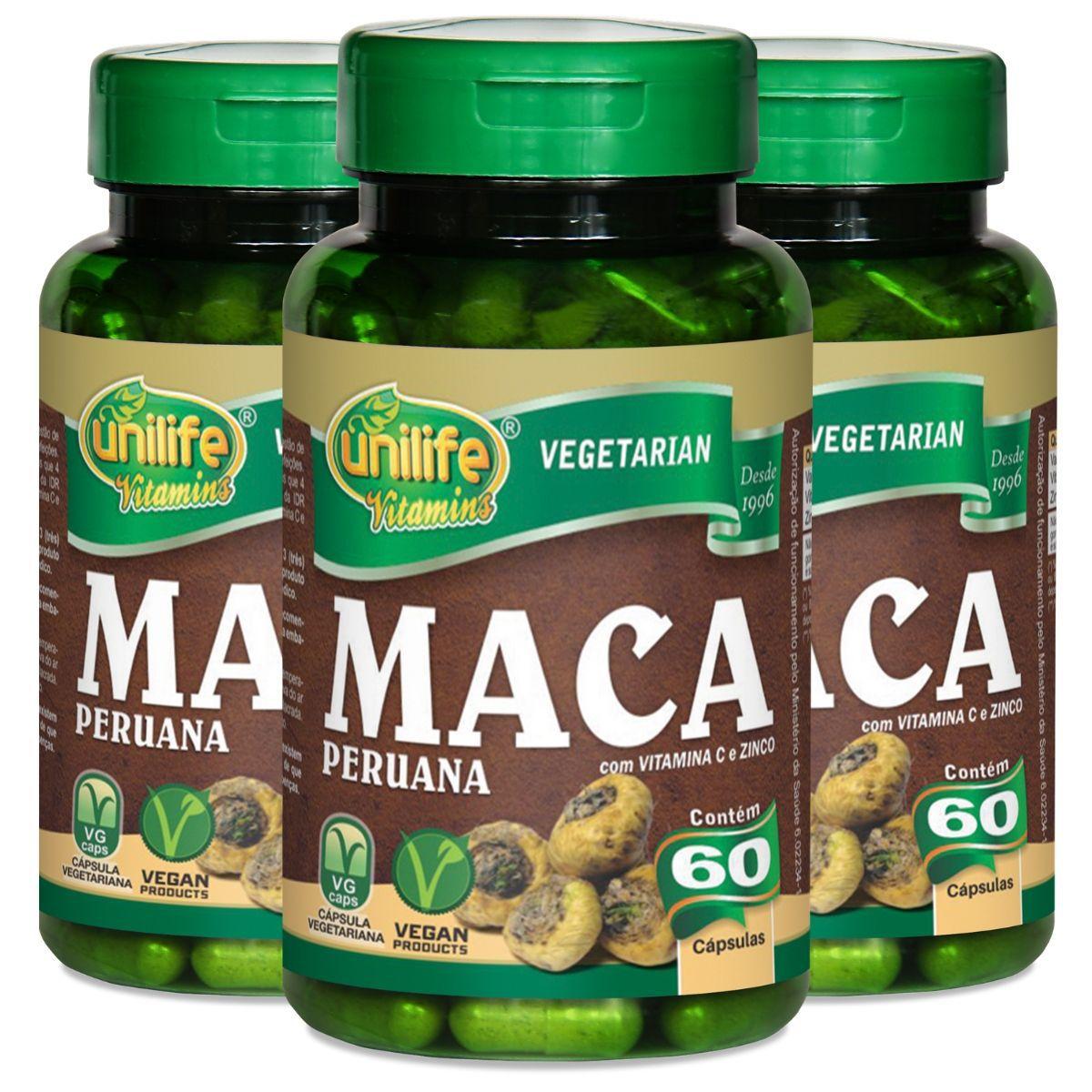 Kit 3 Maca Peruana C/ Vitaminas 550mg 60 Cápsulas - Unilife