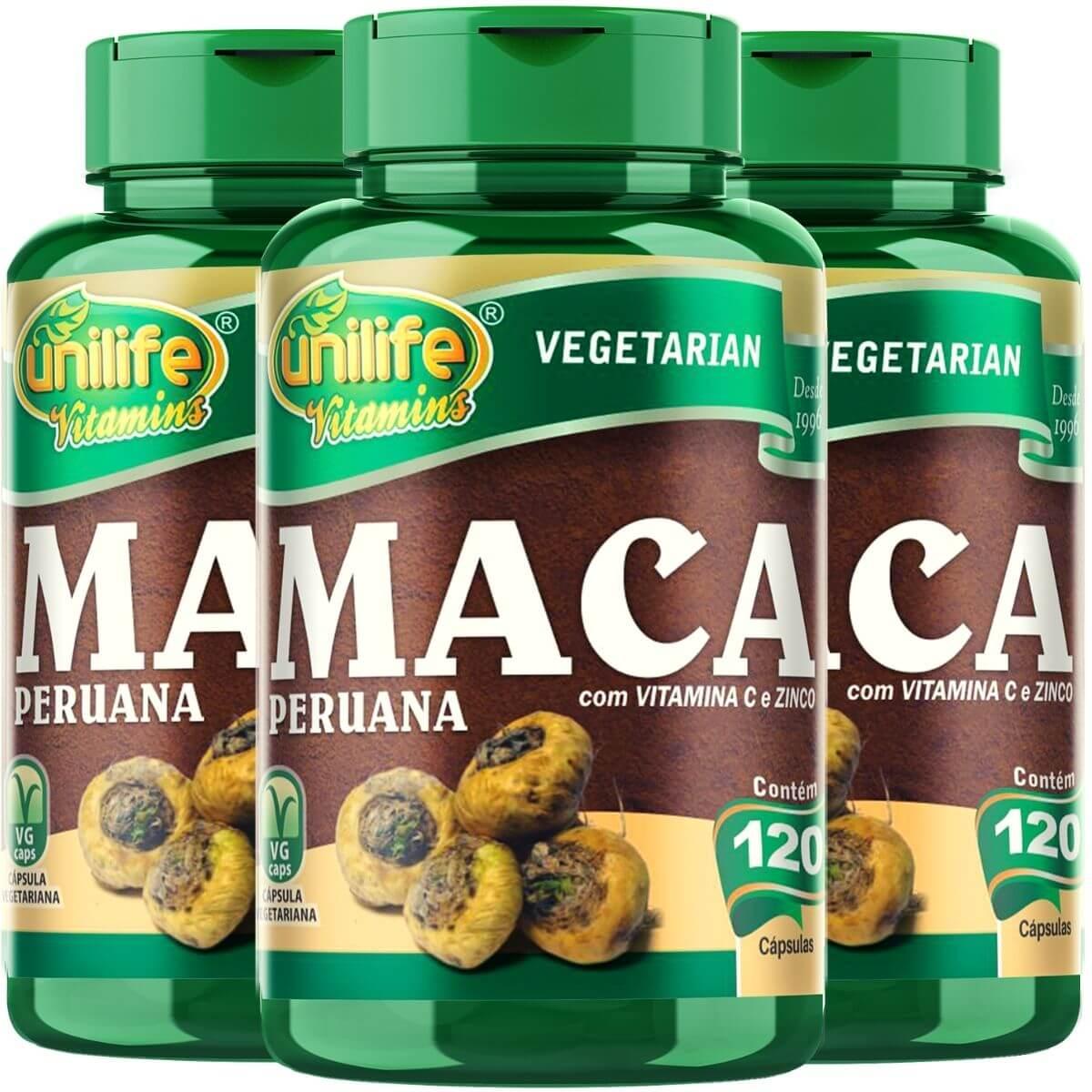 Kit 3 Maca Peruana C/ Vitaminas - Unilife 500mg 120 Cápsulas