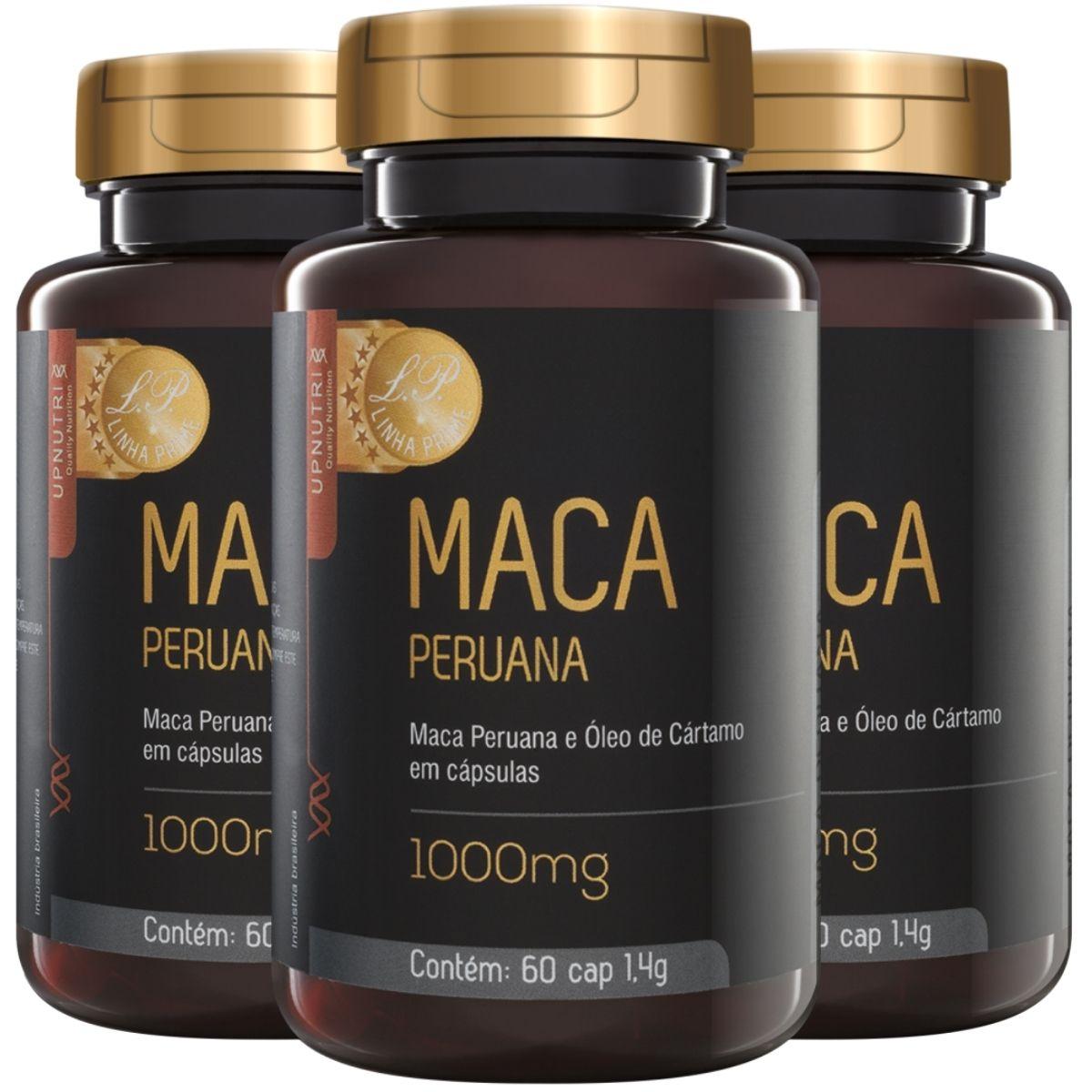 Kit 3 Maca Peruana E Óleo de Cártamo 1000mg 60 Cápsulas - Upnutri Prime