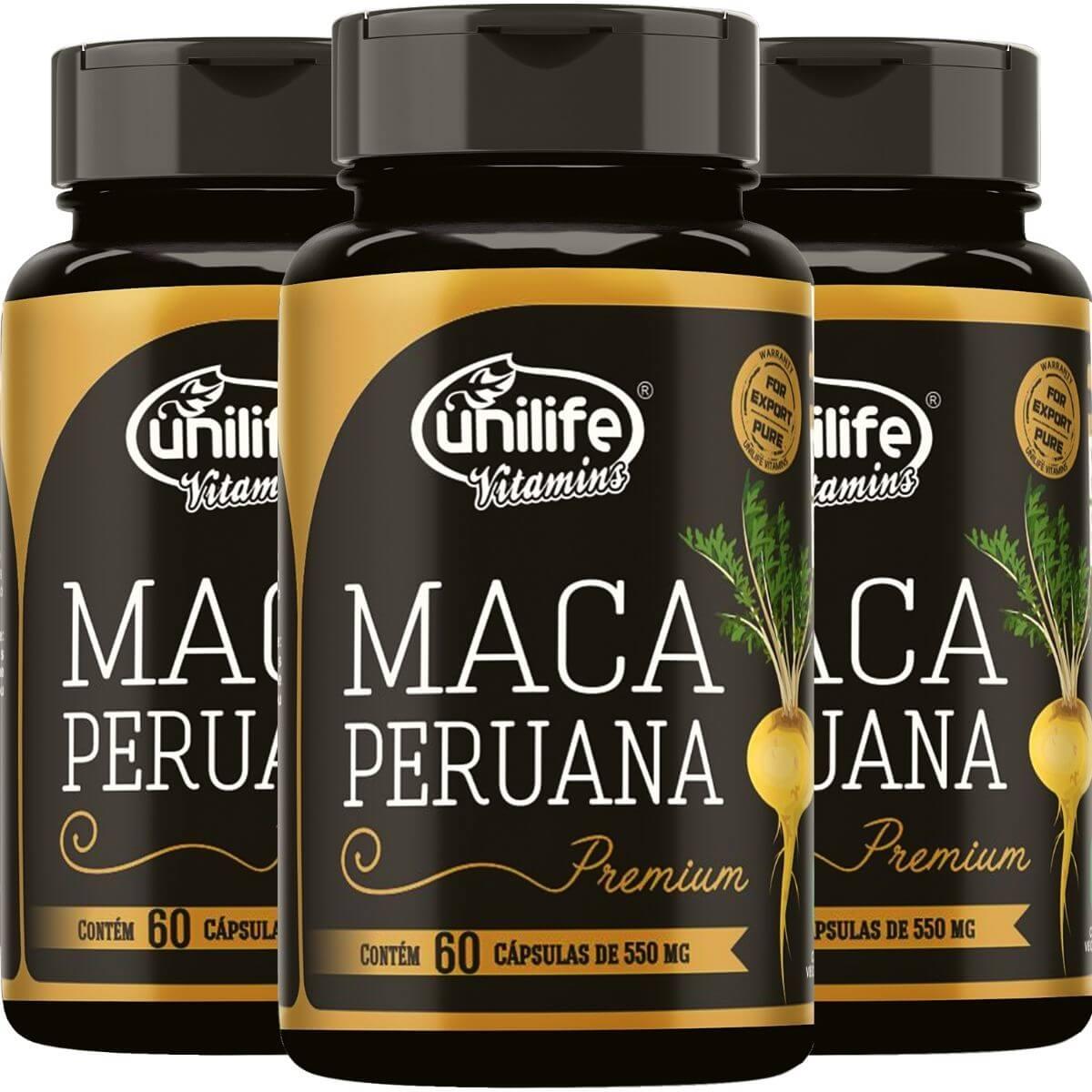 Kit 3 Maca Peruana Premium Unilife 100% Pura - 60 Cápsulas