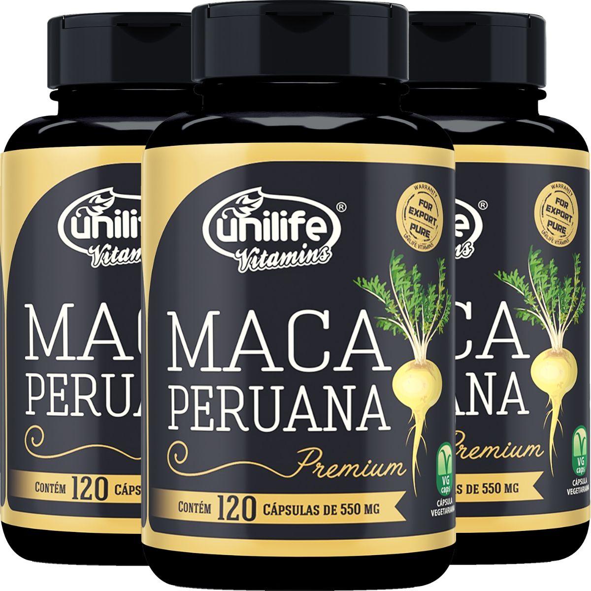 Kit 3 Maca Peruana Unilife Premium Pura 120 Cápsulas - 360 Cápsulas
