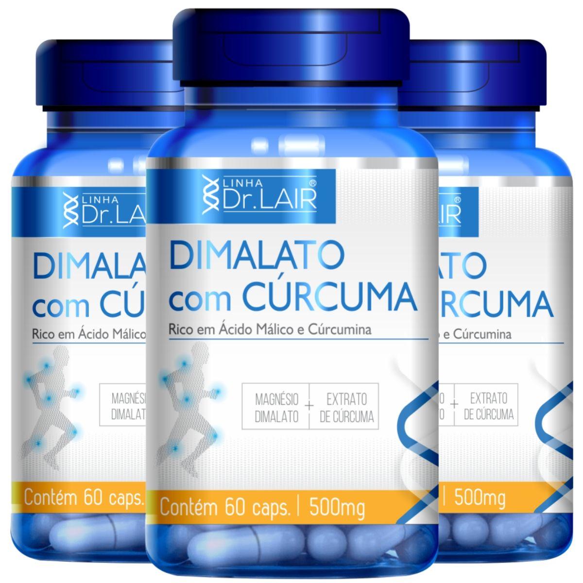 Kit 3 Magnésio Dimalato C/ Cúrcuma 60 Cápsulas 500mg Dr. Lair - Upnutri