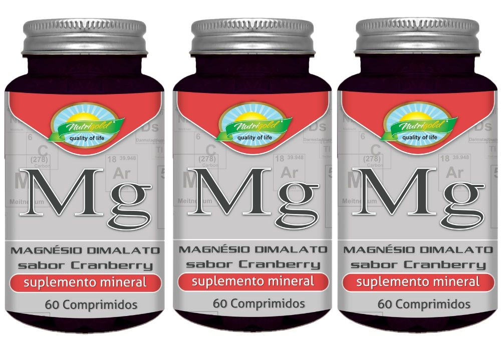 Kit 3 Magnésio Dimalato Sabor Cranberry - 60 Comprimidos 1,2G