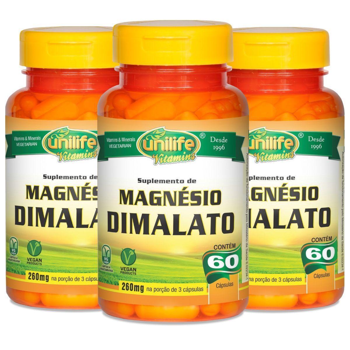 Kit 3 Magnésio Dimalato Unilife - 60 Cápsulas 700mg