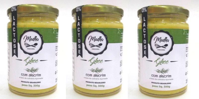 Kit 3 Manteiga Ghee 300g Alecrim Clarificada Zero Lactose Zero Gluten Madhu Bakery