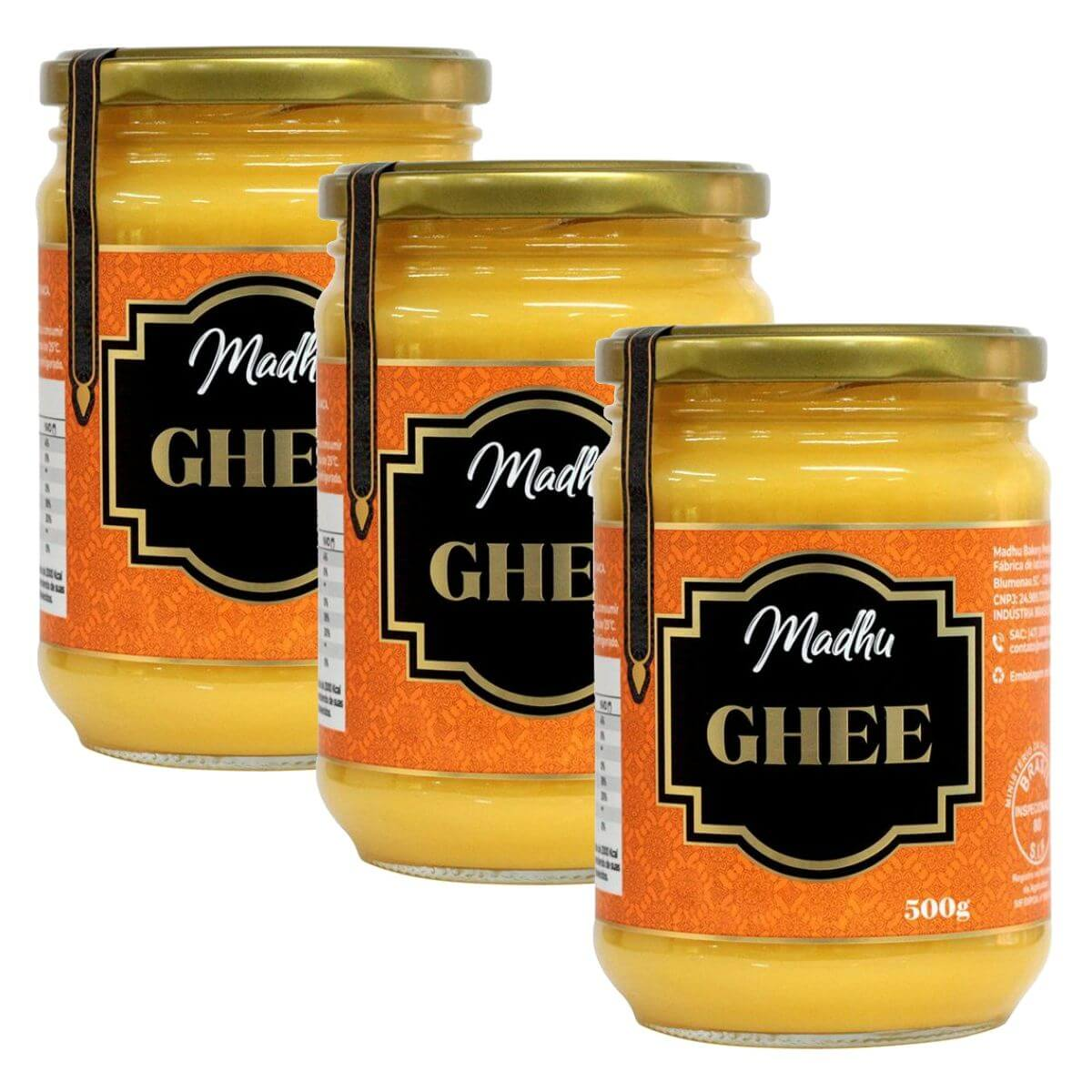 Kit 3 Manteiga Ghee 500g Tradicional Clarificada Zero Lactose