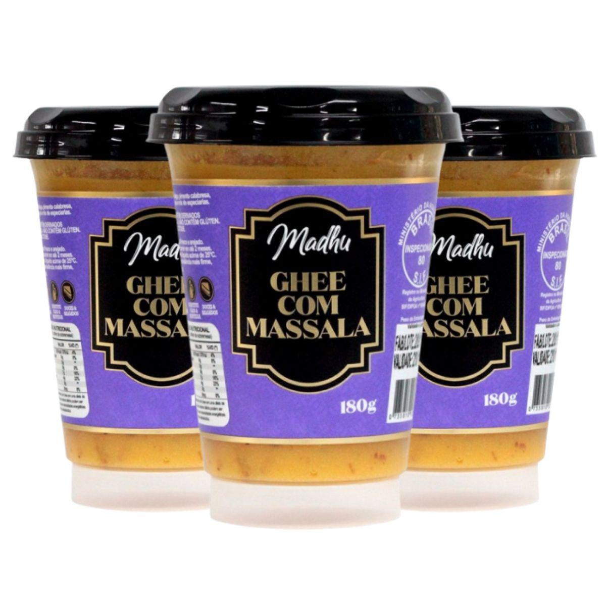Kit 3 Manteigas Ghee C/ Massala Clarificada 180g - Madhu Bakery