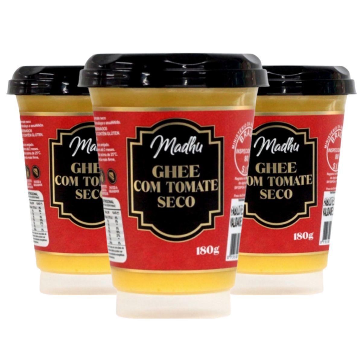 Kit 3 Manteigas Ghee C/ Tomate Seco Clarificada 180g - Madhu Bakery