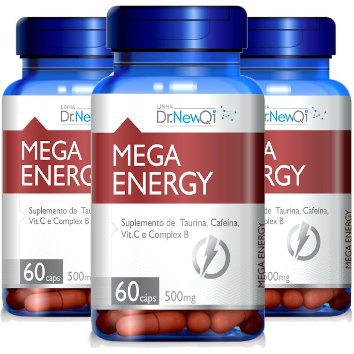 Kit 3 Mega Energy Taurina + Cafeína + Vit. C e Complexo B 60 Cápsulas - Upnutri