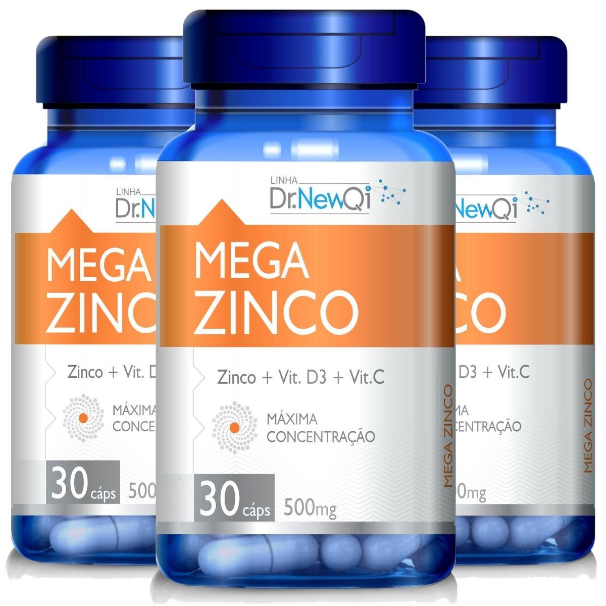 Kit 3 Mega Zinco + Vitamina C e D3 30 Cápsulas 500mg Dr. New Qi - Upnutri