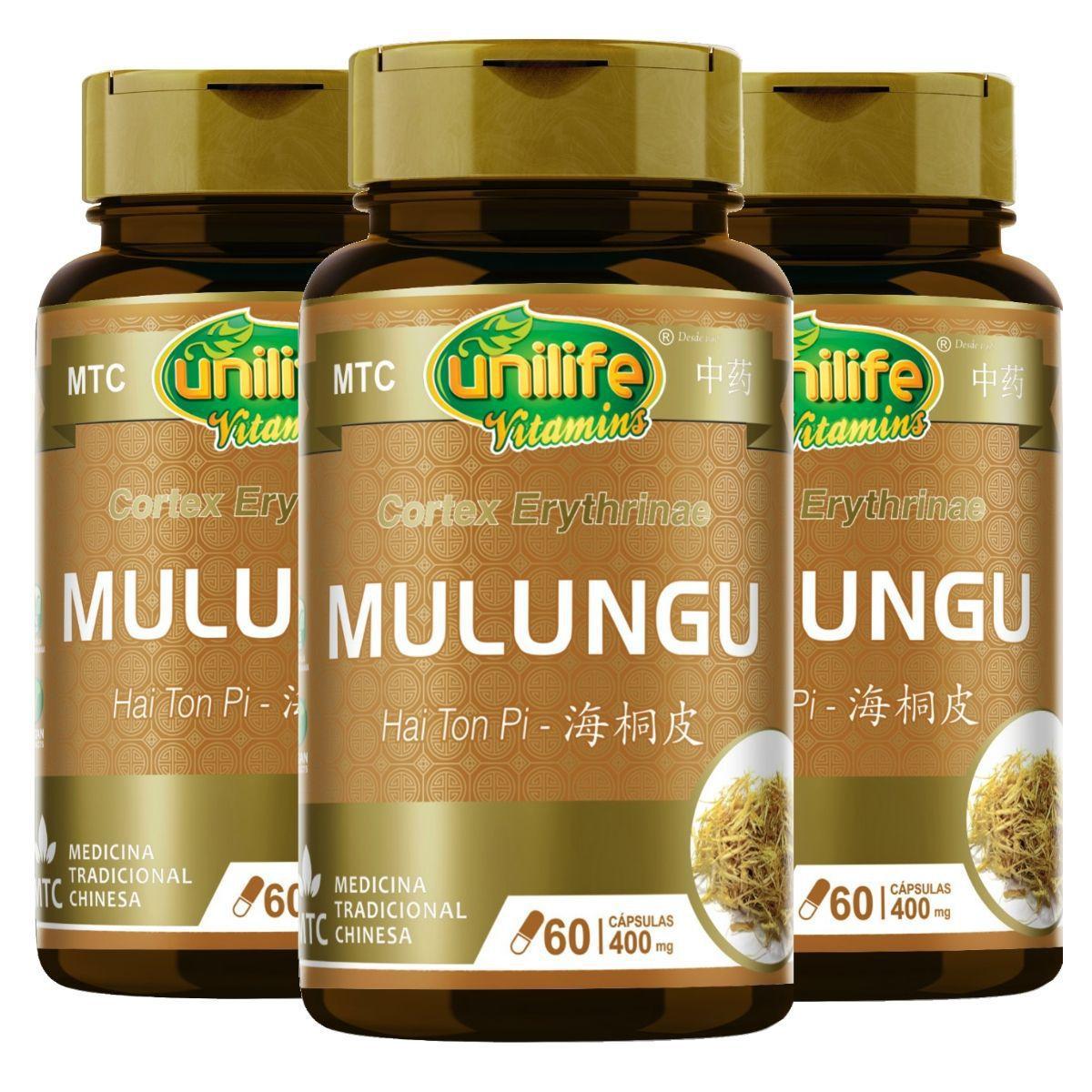 Kit 3 MTC Mulungu Puro Vegano 400mg 60 Cápsulas - Unilife