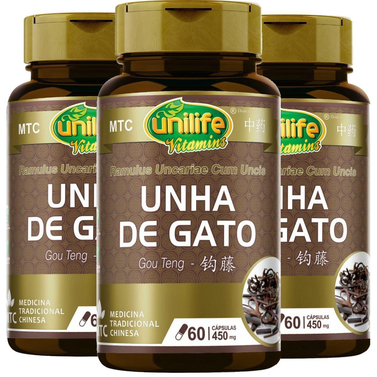 Kit 3 MTC Unha De Gato Gou Teng  450mg 60 Cápsulas - Unilife