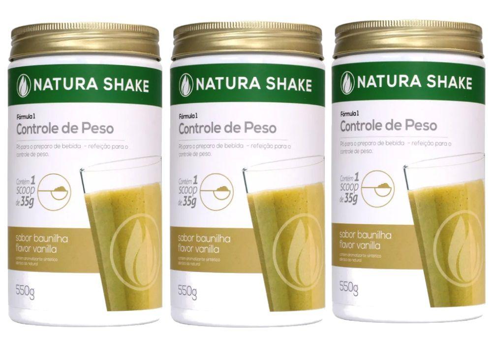 Kit 3 Natura Shake Sabor Baunilha 550g - Ideal Para Dieta