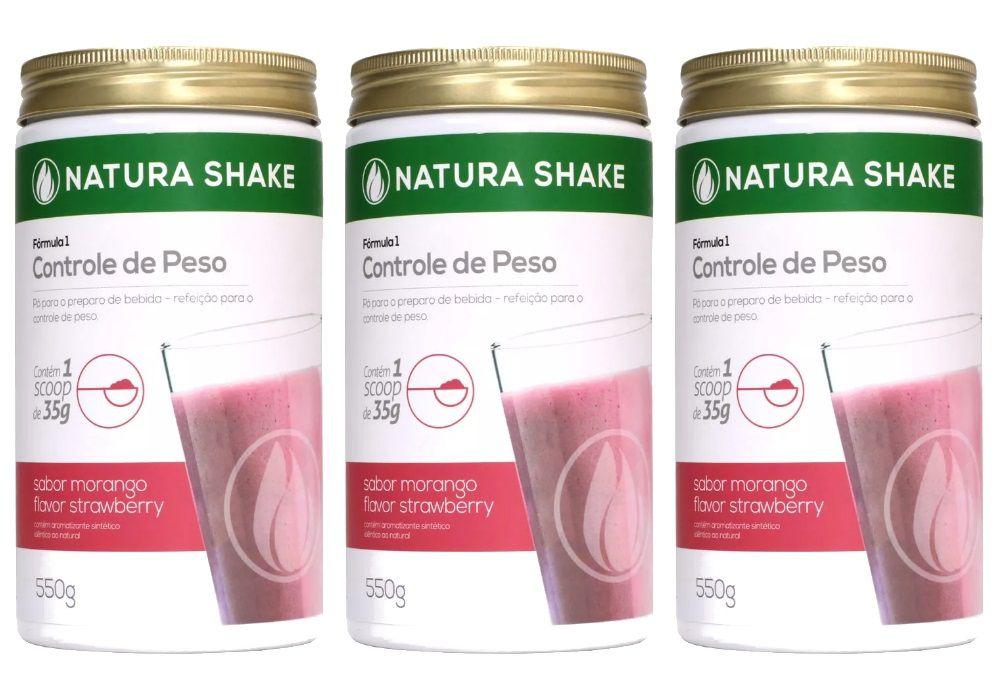 Kit 3 Natura Shake Sabor Morango 550g - Ideal Para Dieta