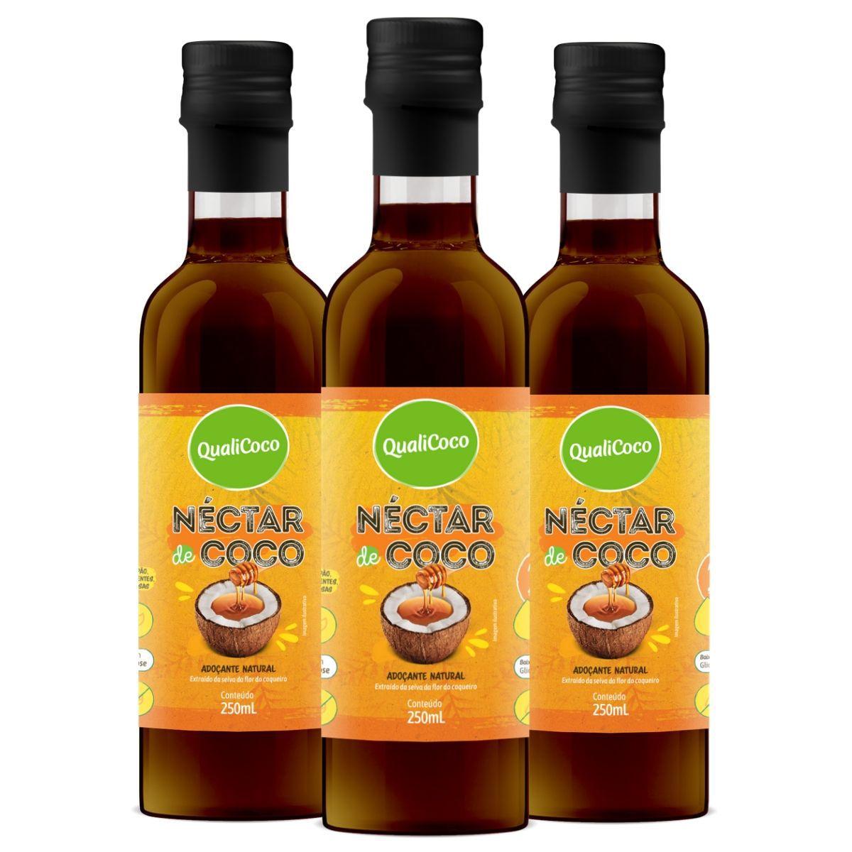 Kit 3 Néctar de Coco Adoçante Natural 250ml - QualiCoco