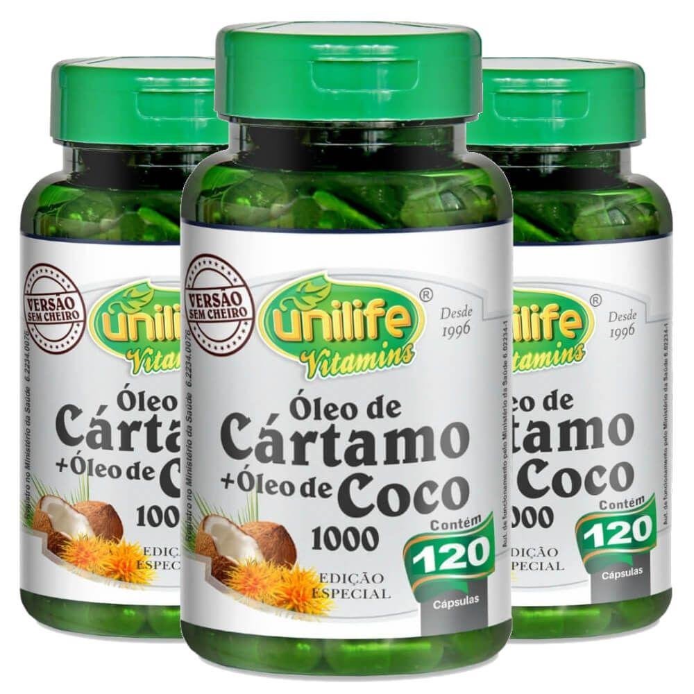 Kit 3 Óleo de Cártamo + Óleo de Coco - Unilife 120 Cáps