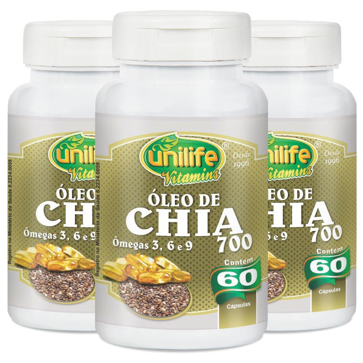Kit 3 Óleo de Chia 60 Cápsulas - Unilife