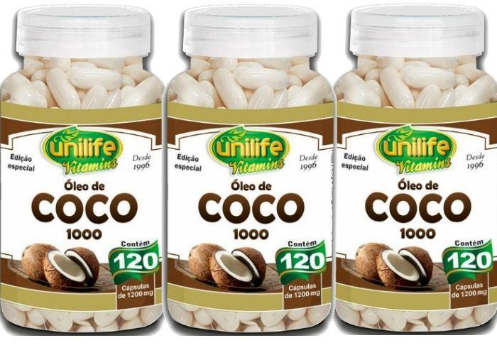 Kit 3 Óleo de Coco 1000 Edição Especial - 120 Cápsulas 1200mg - Unilife