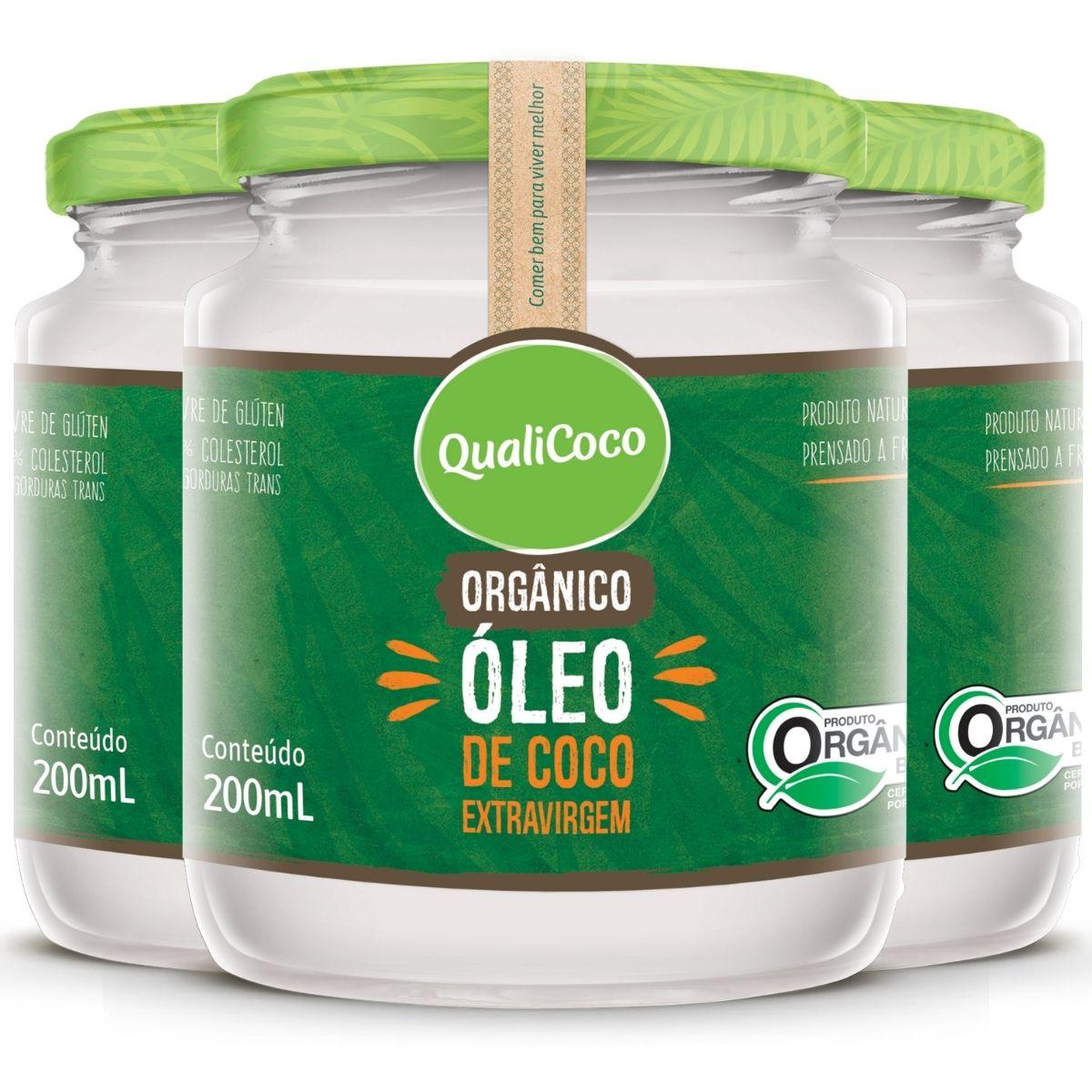 Kit 3 Óleo de Coco Orgânico Extra Virgem 200ml - QualiCoco