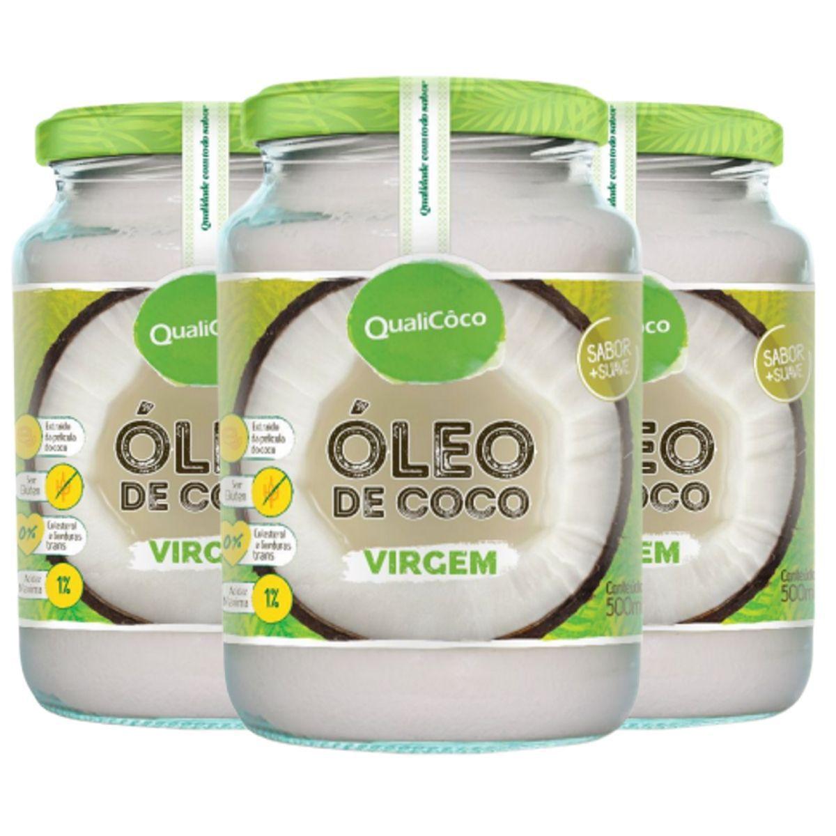 Kit 3 Óleo De Coco Virgem Prensado A Frio Sem Glúten 500ml - QualiCôco