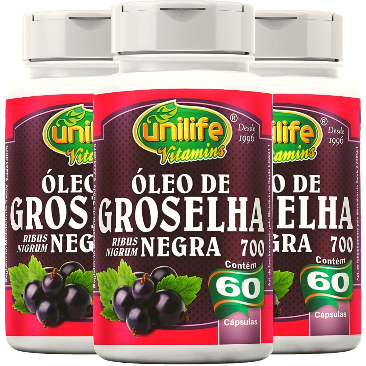 Kit 3 Óleo De Groselha Negra 60 Cápsulas 700mg - Unilife