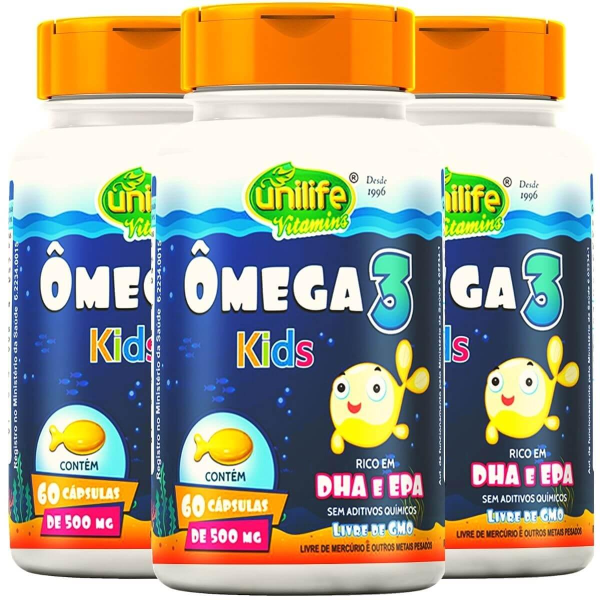 Kit 3 Ômega 3 Kids Unilife 60 Cápsulas 500mg