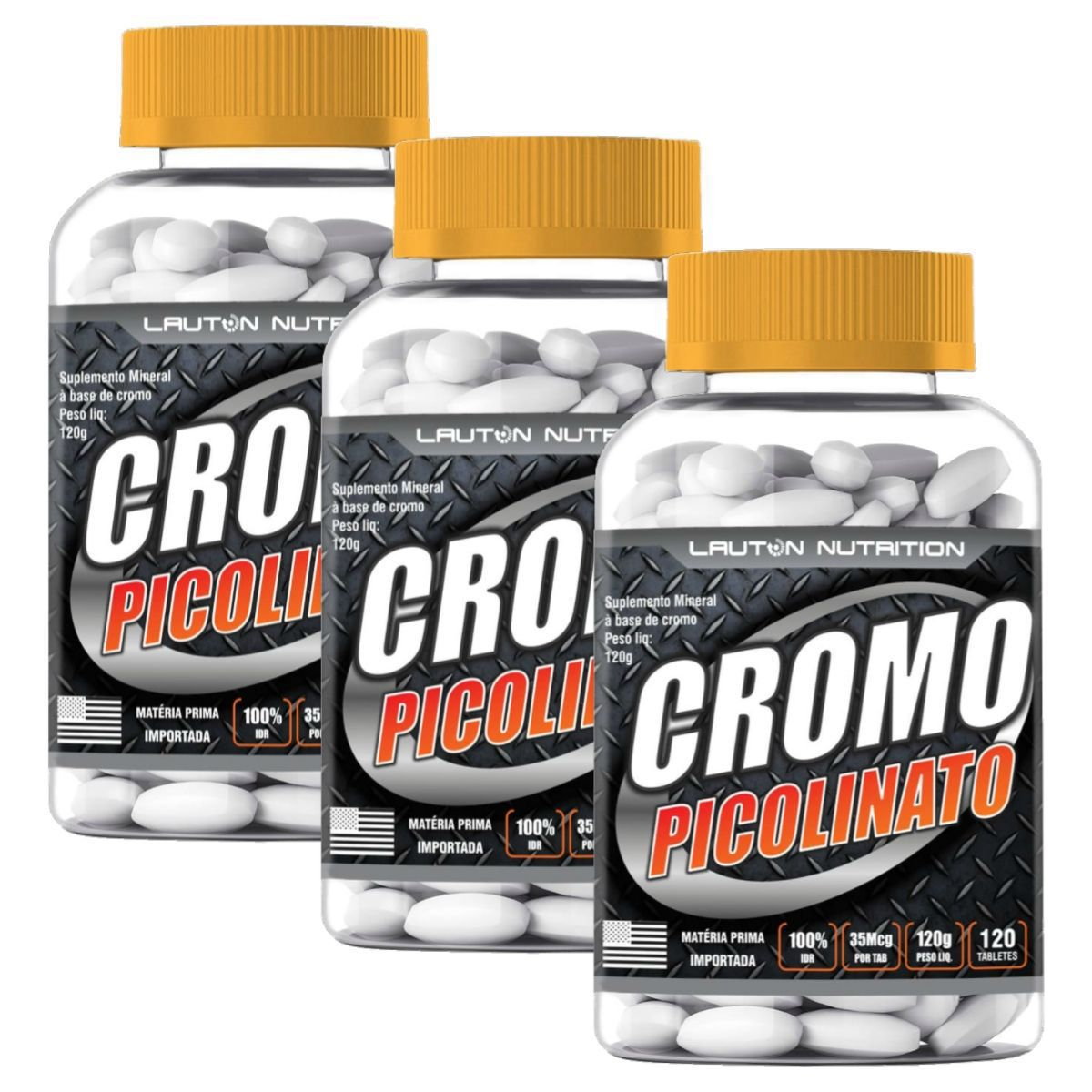 Kit 3 Picolinato de Cromo Lauton Nutrition - 120 Comp 1000mg