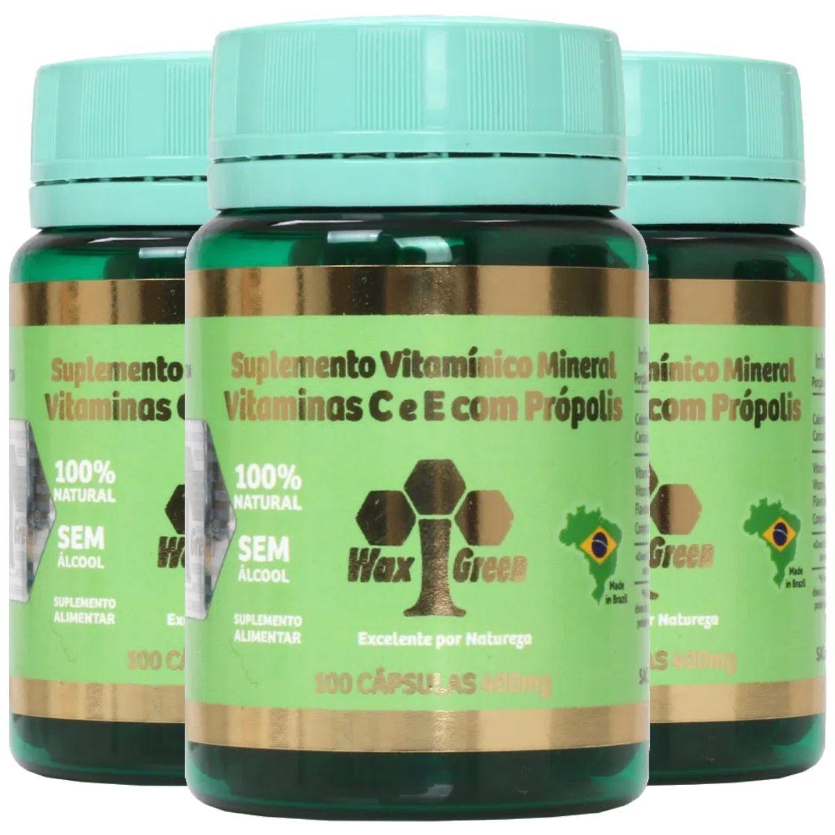 Kit 3 Própolis Verde 70% C/ Vitamina C e E 100 cápsulas 400mg - Wax Green