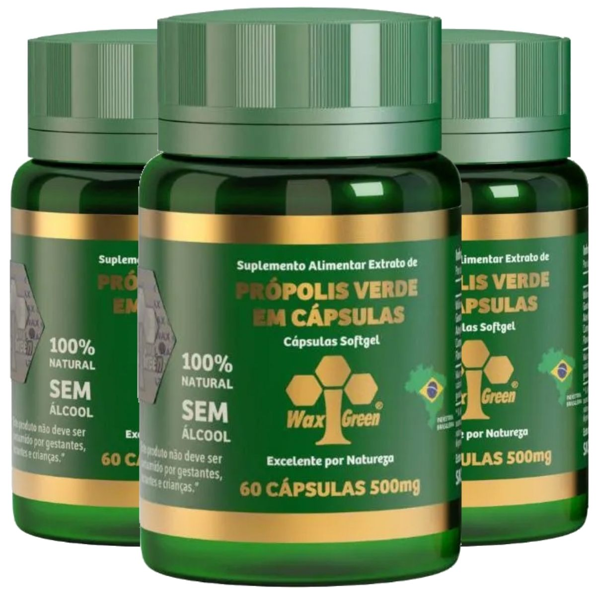 Kit 3 Própolis Verde 86% + Ômega 3 60 Cápsulas 500mg - Wax Green
